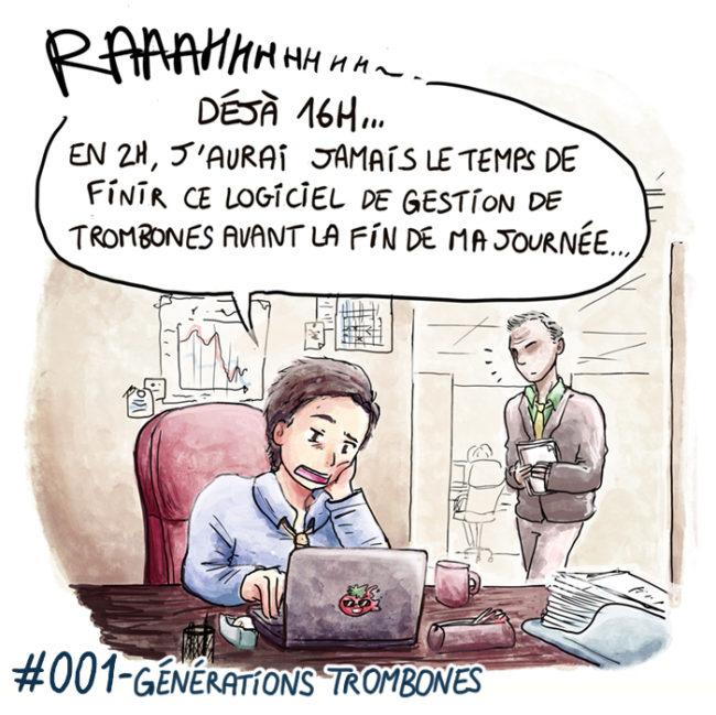Trouve-toi un vrai travail Sebi Comis Sebi Comics Thomas Cyrix Comic Webcomic français Bande dessiné BD Entreprise Boîte Trombonne