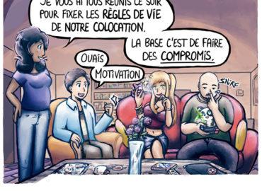Trouve-toi un vrai travail Sebi Comis Sebi Comics Thomas Cyrix Comic Webcomic français Bande dessiné BD Colocation Travail d'équipe Règles de vie*